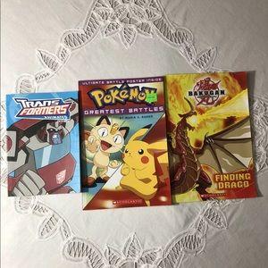3 Boy's Books: Pokémon Transformers Bakugan